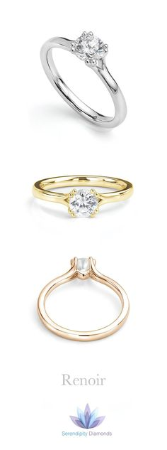 The Renoir diamond solitaire engagement ring features exceptionally pretty…