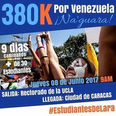 Mañana los valientes #EstudiantesDeLara saldrán por la libertad de Venezuela desde el Rectorado de la UCLA hasta Caracas haciendo un recorrido de nueve días y 380k. . Todo nuestro apoyo! Aquí los estaremos esperando para continuar la lucha contra la dictadura. Fuerza!