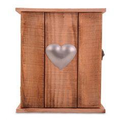 Rustic Wooden Wall Key Cupboard With Hooks & Heart Design £14.99