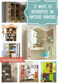 17 Ways To Repurpose An Antique Armoire - by GiddyUpcycled.com