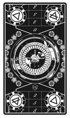 The Wheel of Fortune - Alas Vegas Tarot by John Coulthart *** Roulette - Casino Style with the pentagram game chips Tattoo Prague, Day Of Death, Tarot Prediction, Trump Card, Love Tarot, Mood Images, Magical Thinking, Drawing Tablet, Tarot Card Decks