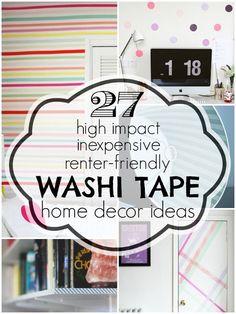 Washi Tape Home Decor Ideas | Remodelaholic.com #washitape #homedecor #renterfriendly @Remodelaholic .com .com .com