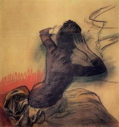 Seated Woman Adjusting Her Hair, 1890 by Edgar Degas. Impressionism. sketch and study. Courtauld Gallery, London, UK