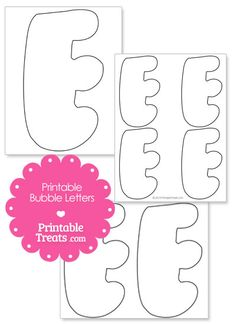 Printable Bubble Letter E Template from PrintableTreats.com