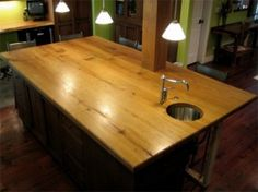 After a surprise washer overflow incident and resulting mold & other water damage, I'm having to plan a last-minute kitchen remodel. This site is super helpful for comparing counter-top prices! Reclaimed Wood Countertop, Wood Countertops, Plywood Counter, Home Renovation, Home Remodeling, Wood Stain Colors, Wood Plans, Kitchen Styling