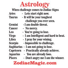 When challenge comes to Zodiac Signs!