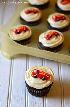 firetruck birthday cupcakes - i heart baking!