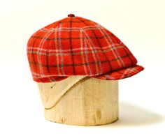 ea1103b9906 Men s Newsboy Cap in Vintage Red Plaid Wool Made by HatsWithAPast