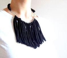 Tshirt yarn fringe necklace. T-shirt yarn necklace by Tayny