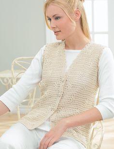 Yarnspirations.com - Patons Daisy Mesh Vest - Patterns    Yarnspirations