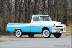 1957 Dodge D-100 Sweptside Pickup. It uses a 5.2-litre V-8 producing 204 horsepower. It's a pretty truck – which is likely the last thing a pickup driver wants to hear.