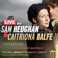 Via jamesandclairefraser:  entertainmenttonight:Swoon with us over Outlander's Sam Heughan an Caitriona Balfe on Facebook tomorrow!