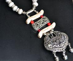 Longevity Lock Necklace, Locket Necklace, Turquoise Necklace, Long Boho Necklace, Tribal Longevity Necklace, Tribal Locket Necklace by LKArtChic on Etsy