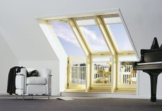 Roof Terrace Windows by Velux Roof Ceiling, Open Ceiling, Attic Window, Roof Window, Balcony Window, Window Manufacturers, Mansard Roof, Small Outdoor Spaces, Roof Installation