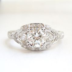 0.94ct Diamond Art Deco Style Engagement Ring by AJMartinJewelry