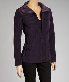 Take a look at this Eggplant Quilted Zip-Up Jacket by Gallery on #zulily today!