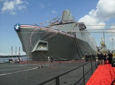 """The U.S.S. New York, made from salvaged parts from the Twin Towers.  The shipyard workers reportedly treated it with the """"reverence usually accorded to religious relics"""", gently touching it as they walked by. One worker delayed his retirement after 40 years of working to be part of the project (source: wikipedia)."""