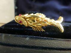 Vintage Signed Tiffany Schlumberger 18K Yellow Gold Ruby Cufflinks Fish Bamboo   eBay