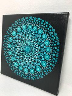 Mandala Original Painting on Canvas, Dotilism, Dot Painting, Meditation Art, Aboriginal Art, Henna, Healing/Calming, Hand Painted w/ Acrylic. Hand painted with acrylic paint on Canvas. Sprayed multiple times with high gloss sealer to protect paint and aging. Color of Canvas: Black Paint