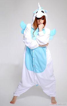 Cotton blue Unicorn Animal Onesie Pajamas