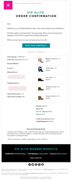 Shoedazzle Order Confirmation email 2015