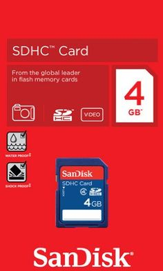 The SanDisk Secure Digital High Capacity (SDHC) Memory Card is a highly secure stamp-sized flash memory card, which can be used in a variety of digital products including digital music players, cellular phones, handheld PCs, digital cameras, digital video camcorders, smart phones, car navigation systems and electronic books, that conform to the SD 2.00 specification (rated Class 2 for speed and performance). It delivers read/write speeds with a s...
