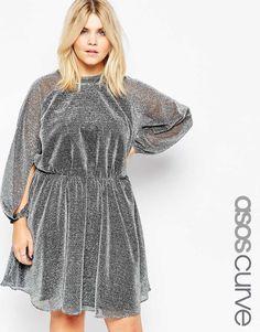 ASOS CURVE Glitter Blouson Sleeve Skater Dress