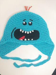 Crochet Mr.Meeseeks Hat / Meeseeks Hat / Funny Character Hat / Earflap Hat / Meeseeks Beanie / Rick and Morty Hat All Sizes Baby Kids Adult