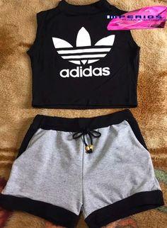 65d1d3f446916 Conjunto Cropped Adidas E Shorts Moletom Novidade Verão - R  44