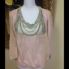 Free People Top Size S Stunning Free People pale pink and gold top size S. Beautiful condition this piece has gold trim with crystal stones open back., cotton fabric, unusual boho style. Low price, questions feel free to contact me. Free People Tops Crop Tops