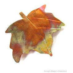 Maple Leaf Brooch Hand Forged Copper by RoughMagicCreations