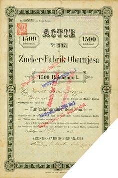 HWPH AG - Historische Wertpapiere - Zucker-Fabrik Obernjesa / Obernjesa, 01.04.1882, Gründeraktie, Namensaktie über 1.500 Mark, später auf 1.000 Mark und dann auf 700 Mark und schließlich auf 700 DM umgestempelt
