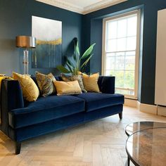 Blue And Gold Living Room, Blue Couch Living Room, New Living Room, Teal Living Room Furniture, Blue And Mustard Living Room, Interior Design Living Room, Living Room Designs, Design Room, Room Interior