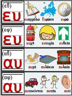Educational Activities, Learning Activities, Learn Greek, Greek Alphabet, Greek Language, First Grade Activities, Greek Words, School Decorations, Learning Tools