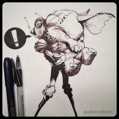 Sasha was so happy to see him again but things just weren't the same. #penandink #robot #monster by creaturebox