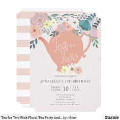 Shop Pink Floral Tea Party Girl Birthday Invitation created by rikkas. Toddler Tea Party, Girls Tea Party, Tea Party Theme, Tea Party Birthday, Birthday Gifts, Second Birthday Ideas, Girl 2nd Birthday, Birthday Board, Fourth Birthday