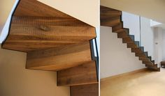 Cantilevered, minimal staircase in folded steel and rough smoked oak by Diapo