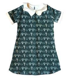 Forest Green Mushroom Organic Cotton Dress W/ by LittleBowAndArrow, $50.00
