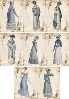 Vintage inspired regency Jane Austen cards tags ATC altered art  set of 8 #handmade #AnyOccasion