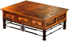 This 6 Drawer Coffee Table Is Exquisitely Handcrafted With Rustic Wood And Copper  Top And Copper Drawer Panels And Sits On An Iron Base.