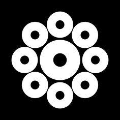 """蛇の目九曜 じゃのめくよう Jyanome kuyou  The design of the 9 """"Janome"""" circle."""