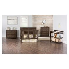 Beautiful wood finishes meet bold design in the Sheldon collection. Crisp lines and contemporary trim work make this collection shine alone or with a decorated theme. It is sure to give any nursery a Rustic Baby Cribs, Unique Baby Cribs, Brown Crib, Bed Rails, Man Room, Panel Headboard, Convertible Crib, Nursery Inspiration, Nursery Ideas