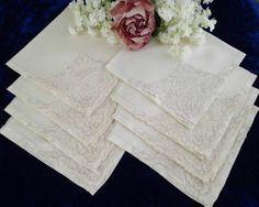 "8 Antique FRENCH Alencon Lace Cream Linen Bird Napkins 17x17""  Vintageblessings"