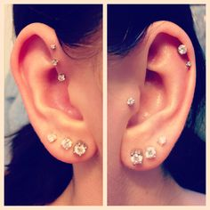 ear piercings, forward, triple, helix, double cartilage, tragus