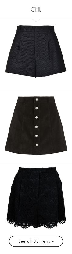 """CHL"" by jovana-vidakovic ❤ liked on Polyvore featuring shorts, bottoms, skirts, short, black, high waisted shorts, brocade shorts, highwaist shorts, high-rise shorts and high waisted short shorts"