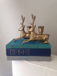 Brass Reindeer Candle Holders by MayaVintage on Etsy