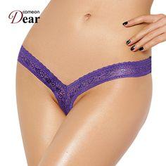 e1dbfd74e8b38 PJ5084 Comeondear Women s G-string Thong Transparent Sexy Panties Underwear  Women V Panties Lace Tanga