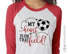 Shown on a Heather White and Red Raglan with Black Matte and Red Glitter Decoration. Soccer Mom Shirt, Soccer Shirts, Mom Shirts, Tiger Shirt, T Shirt, Cute Designs, Shirt Designs, Heather White, Raglan Tee