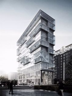 Pop out in the middle to create a corner office, but it's not really on a corner Office Building Architecture, Architecture Visualization, Building Facade, Futuristic Architecture, Facade Architecture, Residential Architecture, Amazing Architecture, Building Design, Facade Design