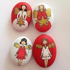 engel basteln steine bemalen weihnachtsdeko ideen